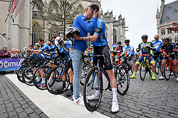 April 11, 2018 - Leuven, BELGIUM - Belgian Senne Leysen of Verandas Willems - Crelan and Belgian Zico Waeytens of Verandas Willems - Crelan pictured during a minute of silence as a tribute to the 23 year old cyclist Michael Goolaerts who died after a crash in the Paris-Roubaix race on Sunday 8 April, at the start of the 58th edition of the 'Brabantse Pijl' one day cycling race, 201,9 km from Heverlee, Leuven to Overijse, Wednesday 11 April 2018. BELGA PHOTO DAVID STOCKMAN (Credit Image: © David Stockman/Belga via ZUMA Press)