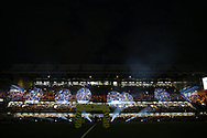 a view of a Lighting display before k/o. Premier league match, Chelsea v Liverpool at Stamford Bridge in London on Friday 16th September 2016.<br /> pic by John Patrick Fletcher, Andrew Orchard sports photography.