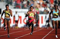 Friidrett , 15. juni 2007 , Golden League Bislett Games , <br /> <br /> Ezinne Okparaebo (94) , Stephane Durst (46)  og Sherri Ann Brooks (6)  100 meter ,