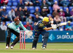 Glamorgan's David Lloyd flicks to fine leg<br /> <br /> Photographer Simon King/Replay Images<br /> <br /> Vitality Blast T20 - Round 14 - Glamorgan v Surrey - Friday 17th August 2018 - Sophia Gardens - Cardiff<br /> <br /> World Copyright © Replay Images . All rights reserved. info@replayimages.co.uk - http://replayimages.co.uk