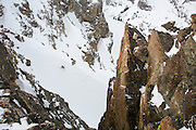 Photo by David Stubbs<br /> Ski touring in Grand Teton National Park with Exum mountain Guides and Gu Energy athletes Kit Deslauriers, Rob Krar, Jessica Baker and Brenton Reagan,