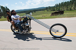 Noah O'Geen all the way from Hawaii on his Panhead on the Annual Cycle Source and Michael Lichter Rides (combined this year) left from the new Broken Spoke area of the Iron Horse Saloon during the Sturgis Black Hills Motorcycle Rally. SD, USA.  Wednesday, August 10, 2016.  Photography ©2016 Michael Lichter.