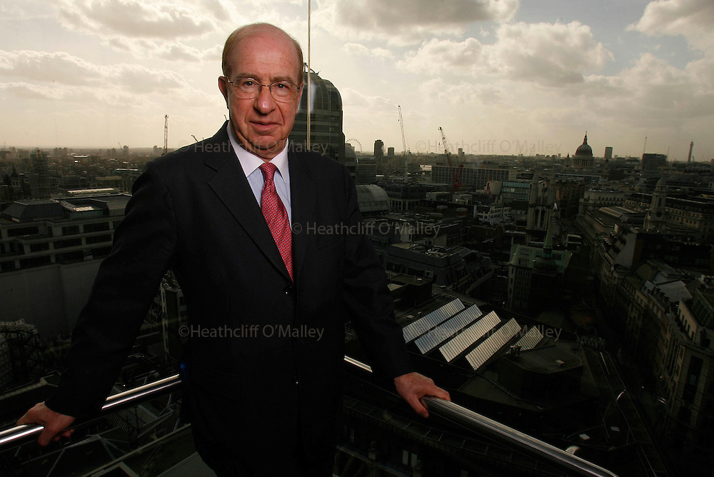 Photo by Heathcliff Omalley..London 1 April 2008.Lord Levene, Chairman of Lloyds photographed in the offices in the Lloys building.