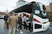April 1, 2016; Indianapolis, Ind.; The UAA women's basketball team boards their charter bus to head to the NCAA Women's Basketball Salute at the Women's Final Four Salute at the Indianapolis Motor Speedway.