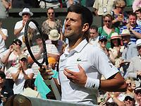Tennis - 2019 Wimbledon Championships - Week Two, Friday (Day Eleven)<br /> <br /> Men's Singles, Semi-Final: Novak Djokovic (SRB) vs. Roberto Bautista Agut (ESP)<br /> <br /> Djokovic celebrates his win, on Centre Court.<br /> <br /> COLORSPORT/ANDREW COWIE