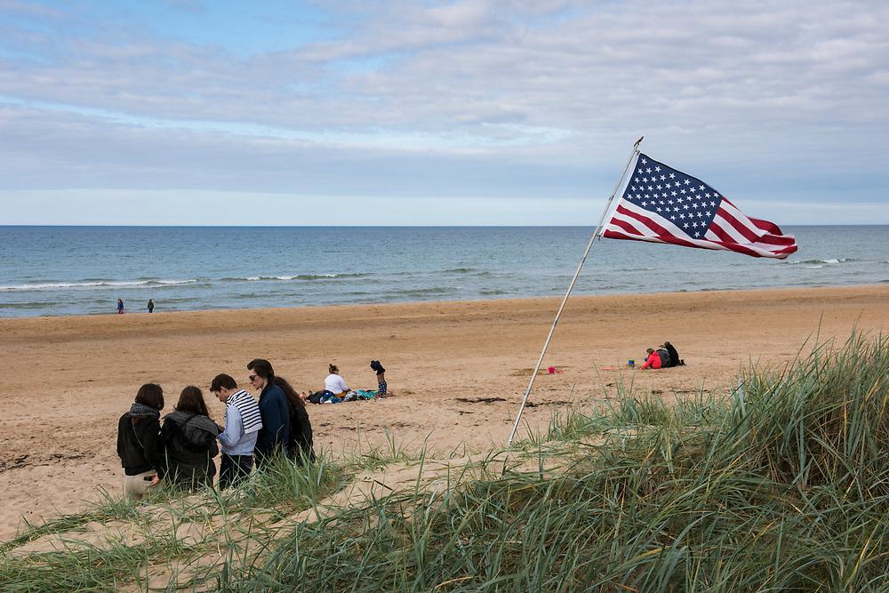 May 30, 2019, Omaha Beach,  Normandy, France. An american flag at Omaha beach during the 75th anniversary of D-Day and Battle of Normandy commemorations. <br /> 30 Mai 2019, Utah Beach, Normandie, France. Un drapeau américain sur Omaha beach  pendant le 75e anniversaire des commémorations du jour J et de la bataille de Normandie.