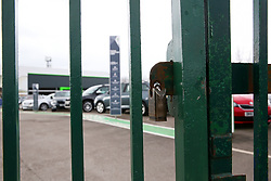 A Skoda car dealership remains closed and locked due as the UK continues in lockdown to help curb the spread of the coronavirus.