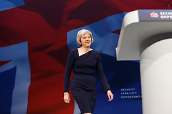 © Licensed to London News Pictures. 06/10/2015. Manchester, UK. Home Secretary THERESA MAY speaking at Conservative Party Conference at Manchester Central convention centre on Tuesday, 6 October 2015. Photo credit: Tolga Akmen/LNP