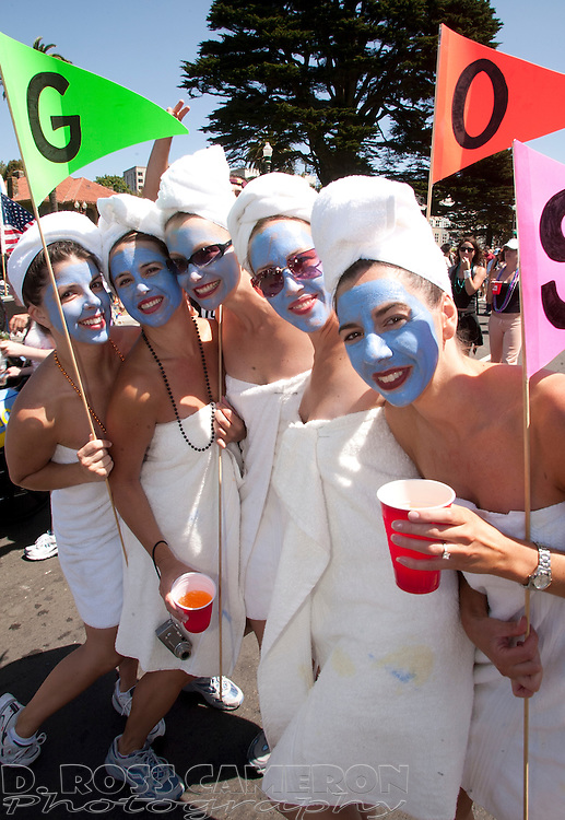 """Mimicking the cover of the pop group The Go-Go's 1981 album """"Beauty and the Beat,"""" Kitty Haiston, from left, Erin Pursell, Dana Campeau, Jen Lutz and Jill Zook pose for a photographer at the 93rd running of the Bay to Breakers footrace in San Francisco, Sunday, May 16, 2004. (Photo by D. Ross Cameron)"""