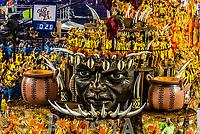Floats in the Carnaval parade of Academicos da Rocinha samba school in the Sambadrome, Rio de Janeiro, Brazil.