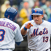 NEW YORK, NEW YORK - MAY 04:  Asdrubal Cabrera, (right), #13 of the New York Mets celebrates his home run at home plate with Curtis Granderson #3 of the New York Mets during the Atlanta Braves Vs New York Mets MLB regular season game at Citi Field on May 04, 2016 in New York City. (Photo by Tim Clayton/Corbis via Getty Images)