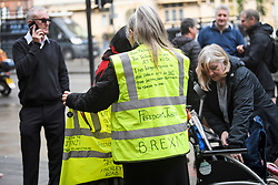 © Licensed to London News Pictures. 19/03/2019. London, UK. Supporters and Yellow Vest protestor gather outside Westminster Magistrates Court in London where James Goddard is charged with harassing MP Anna Soubry and two public order offences against a police officer.  Photo credit: Ben Cawthra/LNP