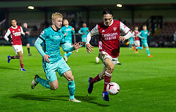 LONDON, ENGLAND - Friday, October 30, 2020: Arsenal's Joel Lopez Salguero (R) and Liverpool's Luis Longstaff during the Premier League 2 Division 1 match between Arsenal FC Under-23's and Liverpool FC Under-23's at Meadow Park. Liverpool won 1-0. (Pic by David Rawcliffe/Propaganda)
