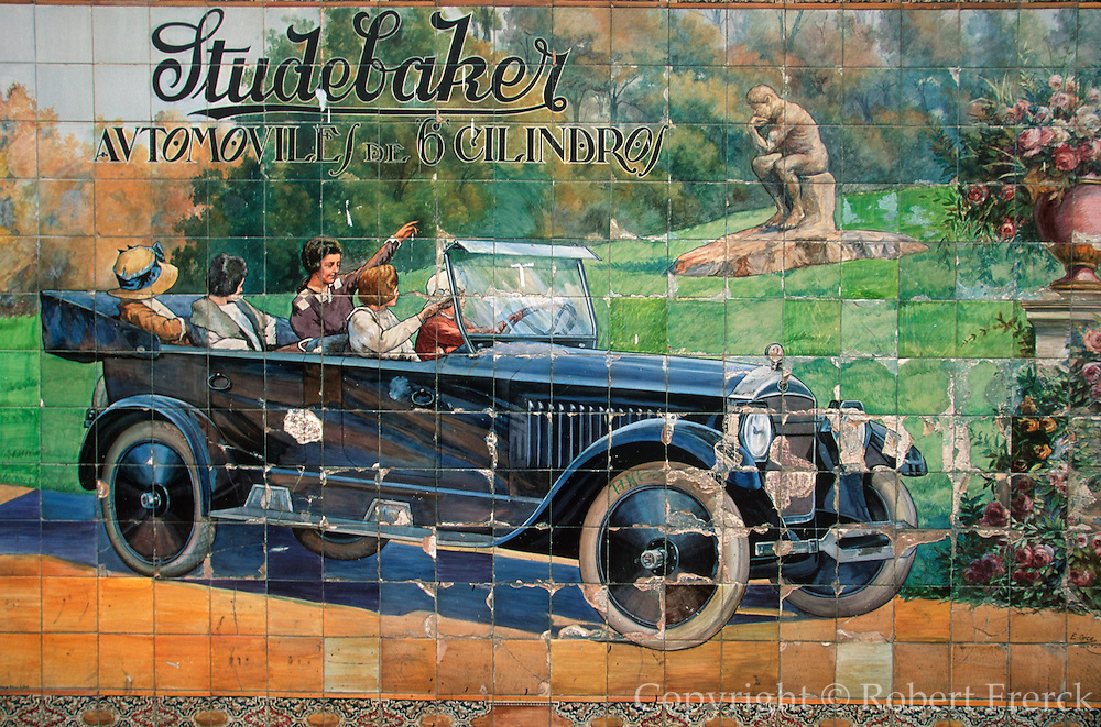 SPAIN, ANDALUSIA, SEVILLE ceramic tile, commercial advertisement for Studebaker Automobiles from the 1930's on the 'Sierpes' shopping mall