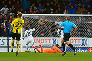 Peterborough United midfielder Siriki Dembele (10) scores a goal and celebrates 2-0 during the EFL Sky Bet League 1 match between Burton Albion and Peterborough United at the Pirelli Stadium, Burton upon Trent, England on 27 October 2018.