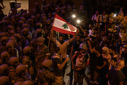 Protestors march towards the Presidential Palace on Saturday, 12 Sep 2020 chanting anti-government slogans in Beirut, Lebanon. (VXP Pictures/ Matt Kynaston)