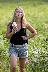 Licensed to London News Pictures. 16/06/2021. London, UK. Walker Emma Wonsowicz 20 a film and sociology student from North London cools off with an ice cream while on a 10 mile hike in Richmond Park, southwest London as weather forecasters predict a 30c scorcher today before storms hit the UK tonight. The Met Office have issued a four day yellow weather warning for thunderstorms and heavy rain for London and the South East with the possibility of lightening strikes and flooding of properties putting an abrupt end to the hot weather. Photo credit: Alex Lentati/LNP