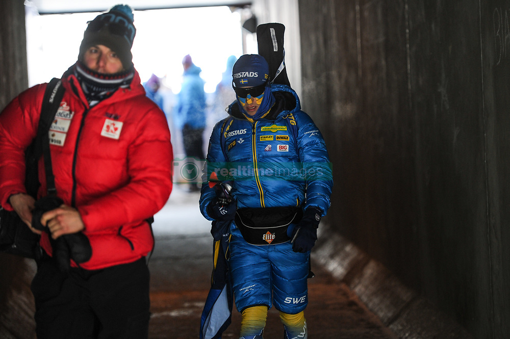 February 8, 2019 - Calgary, Alberta, Canada - An athlete from sweden crosses a tunnel on his way from the stadium  during Men's Relay of 7 BMW IBU World Cup Biathlon 2018-2019. Canmore, Canada, 08.02.2019 (Credit Image: © Russian Look via ZUMA Wire)