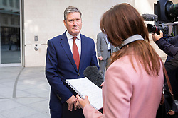 © Licensed to London News Pictures. 01/09/2019. London, UK. Shadow Secretary of State for Exiting the European Union Sir Keir Starmer talks to the media outside the BBC. Earlier this morning he appeared on the Andrew Marr Show. Photo credit: George Cracknell Wright/LNP