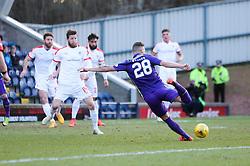 Hibernian's Anthony Stokes scoring their goal. <br /> Raith Rovers v Hibernian, Scottish Championship game player at Stark's Park, 18/3/2016.