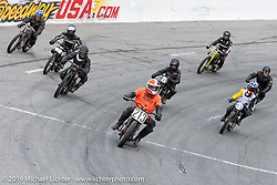 Steve Coe sets the pace for racers in the Sons of Speed Vintage Motorcycle Races at New Smyrina Speedway. New Smyrna Beach, USA. Saturday, March 9, 2019. Photography ©2019 Michael Lichter.