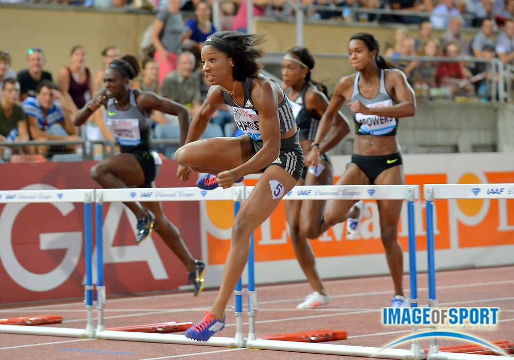 Aug 25, 2016; Lausanne, Switzerland; Kendra Harrison (USA) wins the women's 100m hurdls in 12.42 during the 2016 Athletissima in an IAAF Diamond League meeting at Stade Olympique de la Pontaise. Photo by Jiro Mochizuki