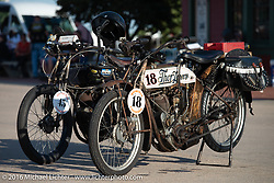 A pair of 1913 Thors on display at the Dodge City finish line. Doug Feinsod's number 18 and John Szalay's number 45 during the Motorcycle Cannonball Race of the Century. Stage-8 from Wichita, KS to Dodge City, KS. USA. Saturday September 17, 2016. Photography ©2016 Michael Lichter.