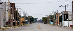 23 Sept 2005. Procter St,  Port Arthur, Texas.  Hurricane Rita evacuation. <br /> The deserted streets of downtown Port Arthur, evacuated by almost all residents.<br /> Photo; ©Charlie Varley/varleypix.com