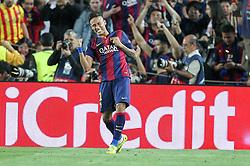 06.05.2015, Camp Nou, Barcelona, ESP, UEFA CL, FC Barcelona vs FC Bayern Muenchen, Halbfinale, Hinspiel, im Bild Torjubel von Neymar #11 (FC Barcelona) // during the UEFA Champions League semi finals 1st Leg match between FC Barcelona and FC Bayern Munich at the Camp Nou in Barcelona, Spain on 2015/05/06. EXPA Pictures © 2015, PhotoCredit: EXPA/ Eibner-Pressefoto/ Kolbert<br /> <br /> *****ATTENTION - OUT of GER*****