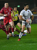Rugby Union - 2019 / 2020 European Rugby Challenge Cup - Pool Two: Scarlets vs. Toulon<br /> <br /> Julien Heriteau, of Toulon attacks with the ball in two hands, at Parc y Scarlets, Llanelli.<br /> <br /> COLORSPORT/WINSTON BYNORTH