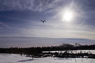 Montgomery, New York - A DJI Inspire 1 quadcopter flies over Benedict Farm on Jan. 25, 2015.