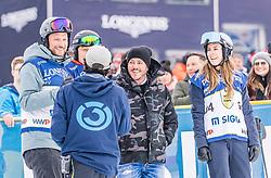 25.01.2020, Streif, Kitzbühel, AUT, FIS Weltcup Ski Alpin, im Rahmen der KitzCharityTrophy 2020 am Samstag, 25. Jänner 2020, auf der Streif in Kitzbühel. // f.l. Aksel Lund Svindal Björn Gulden Rene Benko Nathalie Benko during the KitzCharityTrophy 2020 at the Streif in Kitzbühel, Austria on 2020/01/25, im Bild v.l. Aksel Lund Svindal, Björn Gulden, Rene Benko, Nathalie Benko // f.l. Aksel Lund Svindal Björn Gulden Rene Benko Nathalie Benko during the KitzCharityTrophy 2020 at the Streif in Kitzbühel, Austria on 2020/01/25. EXPA Pictures © 2020, PhotoCredit: EXPA/ Stefan Adelsberger
