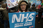 NHS workers and the public join a mass protest demonstration to save the NHS on 3rd February 2018 in London, United Kingdom. The NHS faces the threat of slow privatisation, while hospitals try to function without sufficient funding. Emergency Demonstration NHS in Crisis, Fix It Now! demo was joined by thousands of protesters, wanting an increase in funding and for the NHS to be entirely placed back in public hands.