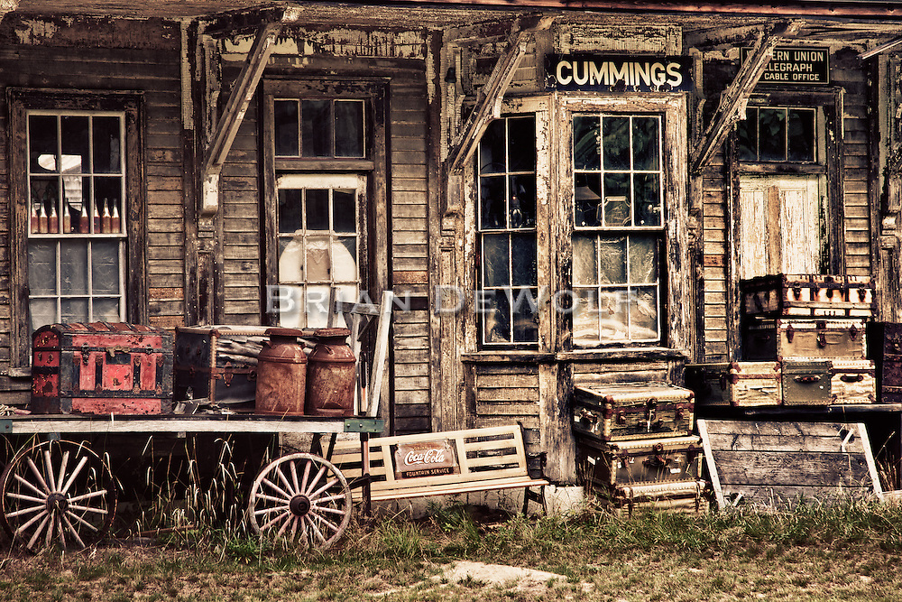 Antiques and collectables stacked outside a vintage train station in Wells, Maine seem a vain obsession for permanence.