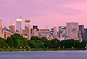 View of Midtown Manhattan Skyline from the Jacqueline Kennedy Onassis Reservoir in Central Park, New York City.