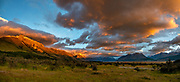 Golden sunrise at Glentanner Park Centre Mount Cook, in the Southern Alps, Canterbury region, South Island, New Zealand. This image was stitched from multiple overlapping photos.