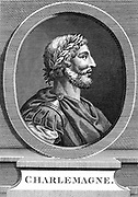 Charlemagne (Charles the Great) 747-814, king of the Franks; crowned Christian emperor of the west in St Peter's, Rome on Christmas Day 800. Copperplate engraving.