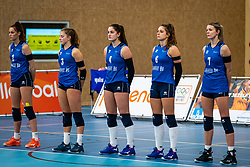 One minute of silence in memory of coach Olaf Olaf Ratterman of volleybay club Bielderman Koetsier / SSS   in action during the first league match in the corona lockdown between Talentteam Papendal vs. Sliedrecht Sport on January 09, 2021 in Ede.