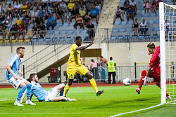 Shamar Amaro Nicholson of NK Domzale and Johan Dahlin of Malmo FF  during Football match between NK Domzale and Malmo FF in Second Qualifying match of UEFA Europa League 2019/2020, on July 25th, 2019 in Sports park Domzale, Domzale, Slovenia. Photo by Grega Valancic / Sportida