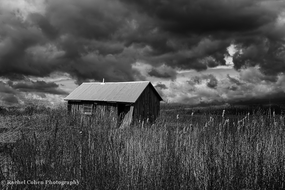 """""""Overtaken by Clouds""""<br /> <br /> Dark and stormy skies above a Midwestern farm! An amazing black and white Michigan landscape!"""