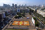 Israel, Tel Aviv, Rabin Square, Belgium Flower Carpet constructed for the centennial celebrations September 17 2009