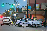 A South Bend police officer was sent to the hospital in serious condition with facial and back injuries after a collision involving a police cruiser and another vehicle on Friday, July 20, 2018, in South Bend.