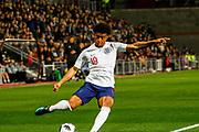Reiss Nelson England U21s (Hoffenheim, loan from Arsenal) crosses from deep in the Scotland half during the U21 UEFA EUROPEAN CHAMPIONSHIPS match Scotland vs England at Tynecastle Stadium, Edinburgh, Scotland, Tuesday 16 October 2018.