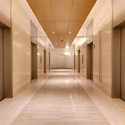 Interior Hallway at 910 Main, Kansas City, MO following renovation of top two floors to apartments