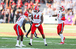 Sep 4, 2021; College Park, Maryland, USA; Maryland Terrapins linebacker Branden Jennings (44) celebrates after a stop during the third quarter against the West Virginia Mountaineers at Capital One Field at Maryland Stadium. Mandatory Credit: Ben Queen-USA TODAY Sports