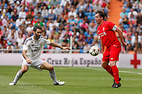 Liverpool´s  Fowler (R)during 2015 Corazon Classic Match between Real Madrid Leyendas and Liverpool Legends at Santiago Bernabeu stadium in Madrid, Spain. June 14, 2015. (ALTERPHOTOS/Victor Blanco)