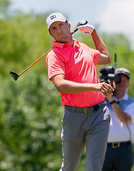 May 12, 2019 - Dallas, TX, U.S. - DALLAS, TX - MAY 12: Jordan Spieth hits his tee shot on #4 during the final round of the AT&T Byron Nelson on May 12, 2019 at Trinity Forest Golf Club in Dallas, TX. (Photo by Andrew Dieb/Icon Sportswire) (Credit Image: © Andrew Dieb/Icon SMI via ZUMA Press)