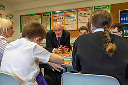 Pictured: John Swinney joined the literacy class led by teacher Michelle Brown, with students Ailsa Gear, Daniel Vancderyl, Oran Rogers, Sarah Rose Markie and Mark Watson<br />