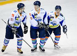 Domen Jemec, Metod Bevk, Dejan Zemva of Triglav celebrate at SLOHOKEJ league ice hockey match between HK Slavija and HK Triglav Kranj, on February 3, 2010 in Arena Zalog, Ljubljana, Slovenia. Triglaw won 4:1. (Photo by Vid Ponikvar / Sportida)