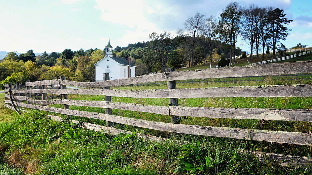 Exploring the back roads of western Virginia, we came across this beautiful little chapel, freshly painted, looking as if it had been built just the week before.  It was well over one hundred years old.